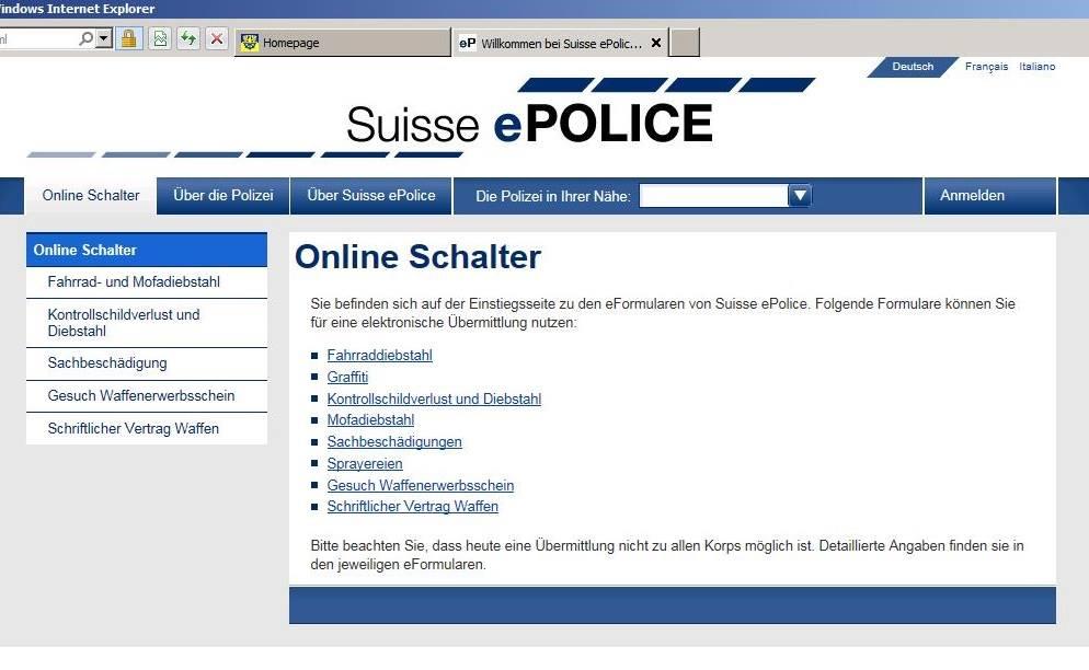 anzeigen per internet aufgeben das portal suisse epolice geht heute online polizei. Black Bedroom Furniture Sets. Home Design Ideas