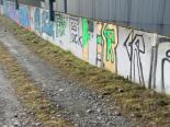 Rothenburg LU - Mauer 40 Meter mit Schriftzügen und Motiven versprayt
