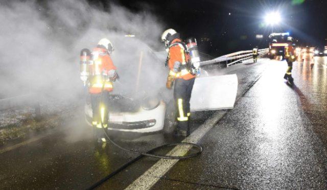 Unfall St.Gallen SG - Brand auf der A1