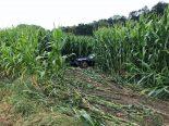 Selbstunfall A6 Schüpfen BE - Auto aus Maisfeld geborgen