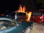 Niederuzwil SG - Auto auf Ausstellungsplatz in Vollbrand - Brandstiftung?