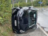 Kreuzlingen TG - Auto bei Verkehrsunfall auf die Seite gekippt