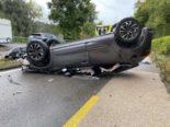 Zwingen BL - Bei Selbstunfall mit Auto überschlagen