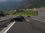Verkehrsunfall A2, Amsteg UR - Mehrfach heftig gegen Mittelleitplanke geprallt