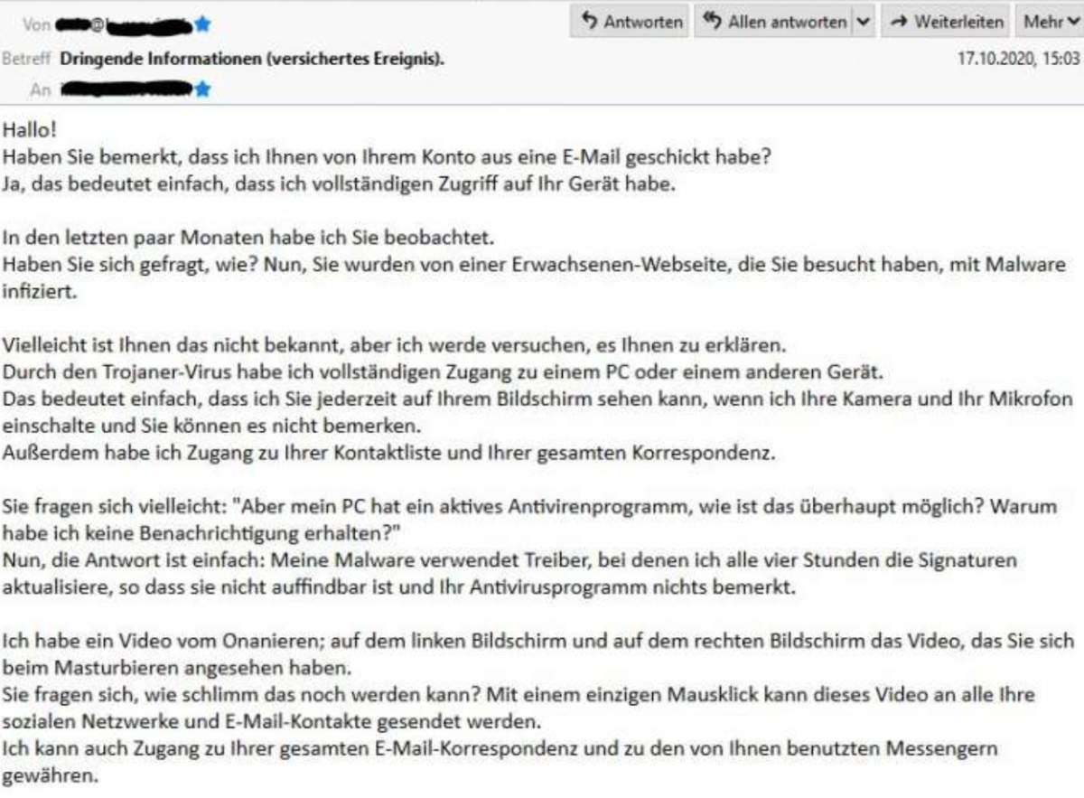 erpresser mail bitcoin polizei