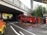 Worblaufen BE - Schwertransport kollidiert mit Brücke