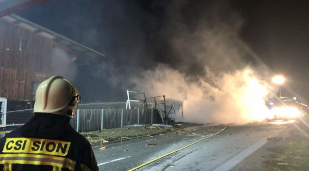 Sitten: Brand eines Containers