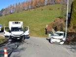Unfall Eigenthal LU: Heftiger Crash zwischen Auto und Lieferwagen