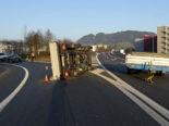 Unfall Autobahn A2 bei Dagmersellen: Lieferwagen kippt auf Seite