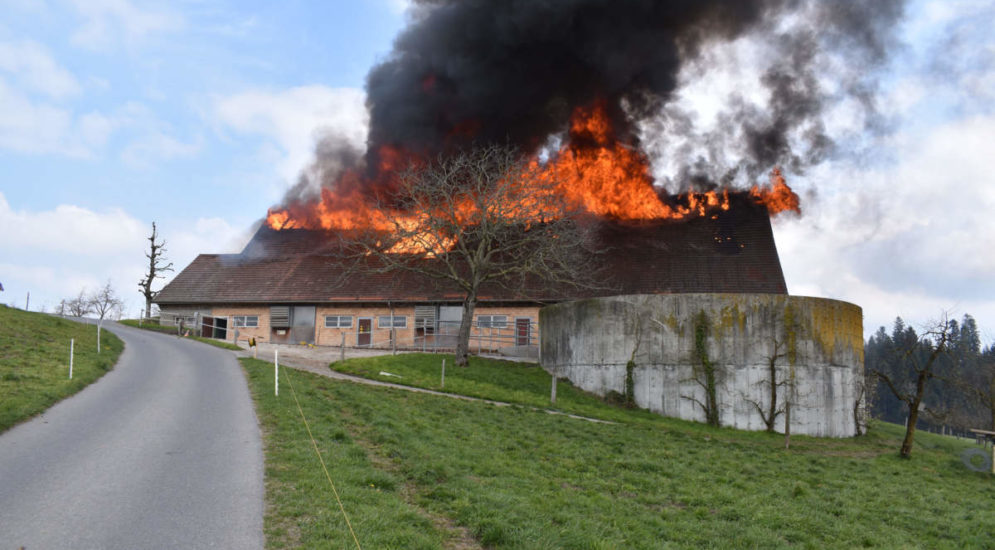 Brand in Ruswil LU: Scheune komplett niedergebrannt