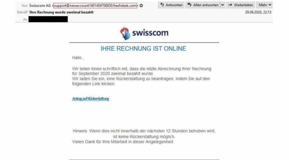 Vorsicht: E-Mail angeblich von der Swisscom betr. Rückerstattung