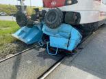 Schwerer Unfall Ballwil LU: Crash zwischen Zug und Baumaschine