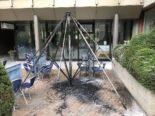 Chur GR: Sonnenschirm auf Terrasse durch Brand zerstört