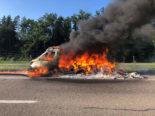 Autobahn A1 Sirnach TG: Vollbrand eines Wohnmobils legt Verkehr lahm