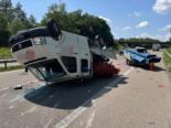 A1 Sirnach TG: Lieferwagen überschlägt sich bei Unfall