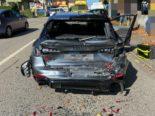 Unfall Lenzburg AG: Lastwagen schiebt mehrere Fahrzeuge ineinander