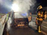 Autobahn A1 bei Wängi TG: Auto gerät in Brand