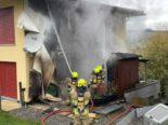 Schübelbach SZ: Anwohner versuchen Brand mit Gartenschlauch zu löschen