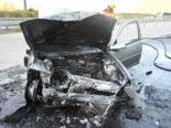 A3 Mols SG: Auto brennt nach Unfall vollständig aus